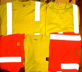 High Visibility Neon Bright Tee Shirts Mens Reflective Tape Safety
