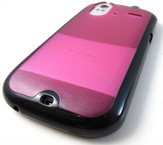 Glossy Blk Pink Hard Gel Candy Skin Case Cover HTC Amaze 4G Phone