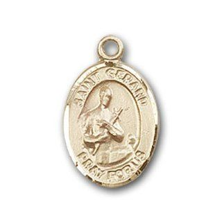 14kt Gold Baby Child or Lapel Badge Medal with St. Gerard Charm and