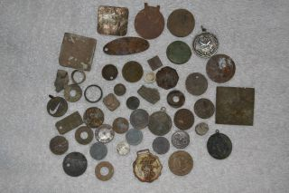 Junk Drawer Lot of Metal Detector Finds Tokens Coins Whatnots L K