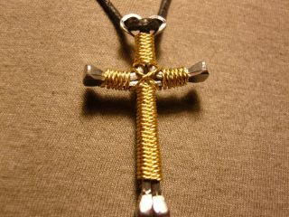 Twisted Gold Rope Handmade Cross Necklace