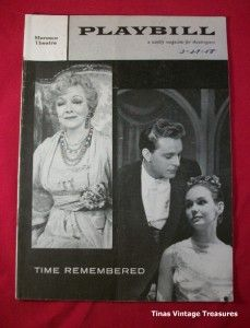 time remembered 1958 theatre playbill helen hayes