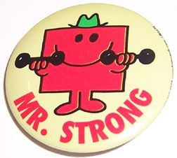 Mr Men Mr Strong Roger Hargreaves Character Button Pin