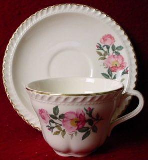HARKER china WILD ROSE gadroon CUP & SAUCER Set