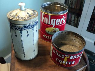 Lot Antique Folgers Hills Brothers Coffee Tins Antique Canister Tin w