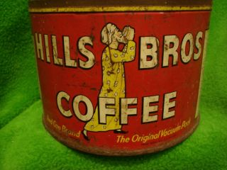 Vintage Hills Bros Coffee Tin Can Collectible
