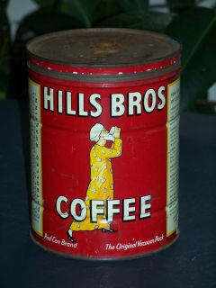 Vintage Key Opener Hills Bros Coffee Tin with Lid