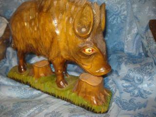 Vtg LG Folk Art Boar Wild Hog Pig Carved Wooden Figure Very Detailed