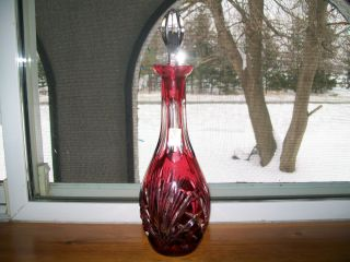 Nachtmann Bleikristall Cranberry Red Cut To Clear Crystal Decanter