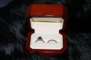 Hearts on Fire Sapphire and Diamond Ring with Band Both 18kt White