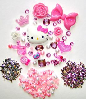 DIY Hello Kitty Bling Bling Flatback Resin Cabochon Deco Kit Set