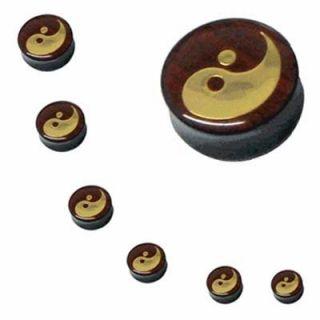 Ear Plugs 9/16G Acrylic Gold Ying Yang Logo Double Flare Acrylic 14mm