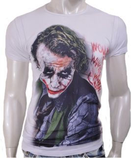 The Joker Batman The Dark Knight Heath Ledger T Shirts Mens White s M