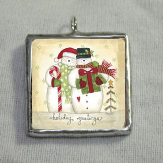 Snowmen Holiday Greetings 1x1 Soldered Silver Charm Pendant