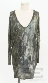 Helmut Lang Green & Charcoal Grey Print Long Sleeve Top Size P