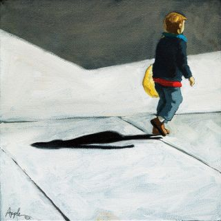 Little Boy Helping Shopping City Street Original Oil Painting by L