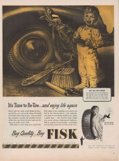 Boy Kid Fun Fishing Golf Harold Anderson Art Tire Ad Vtg A787