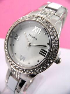Ladies Henley Diamante Crystals Watch Silver White Bracelet White Dial