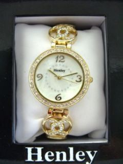 New Ladies Henley Diamante Watch Pearly Dial Gold Tone Band Gift H642