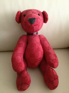 Authentic Gucci Monogram Stuffed Teddy Bear Limited Edition Red
