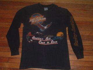 Vtg T Shirt 80s Harley Davidson Long Sleeve 3D Emblem NY Pocket T