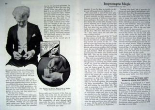 1935 MAGICIAN HARRY BLACKSTONE IMPROMPTU MAGIC Original ARTICLE