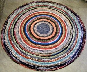 Cloth Vintage Braided Rag Rug Mutli Color Circular Handmade Round