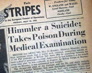 1945 HEINRICH HIMMLER Jewish Holocaust Gen. SUICIDE Death World War II