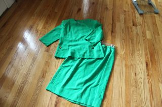 Henry Lee Kelly Green Suit Jacket Shirt Skirt Size 14 Suit Outfit