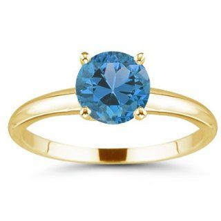 52 Cts Swiss Blue Topaz Solitaire Ring in 18K Yellow Gold 10.0