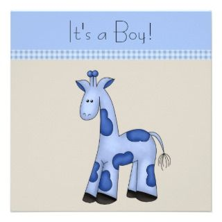 Brown Blue Giraffe Baby Shower Personalized Announcement