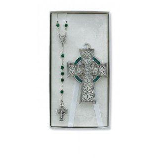 Celtic Crib Cross & Rosary Set Irish Celtic Claddagh