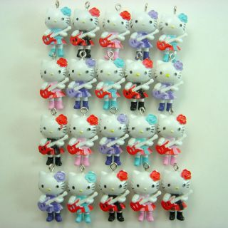20 x Hello Kitty Guitar Jewelry Making Figures Pendant Charms
