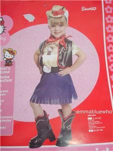 new girls sanrio hello kitty cowgirl dress up halloween costume 2t 3t
