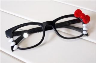 Hello Kitty Costume Bow Glasses Frame Clear Lenses Women Girl Fashion