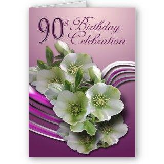Una tarjeta simple pero elegante celebrar un 90.o cumpleaños. Creado