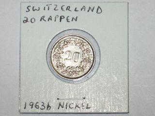 Vintage 1963B Switzerland 20 Rappen Coin Nickel Helvetia