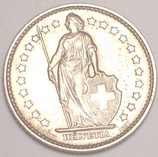 1969 Switzerland Swiss 1 Franc Helvetia Coin XF