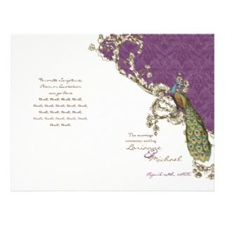 Vintage Peacock & Etchings Wedding Program Custom Flyer