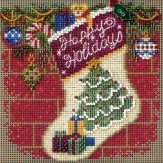 Holiday Stocking Bead Cross Stitch Kit Mill Hill 2011 Buttons Beads