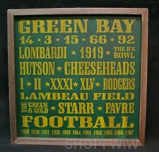 vintage wood nfl green bay packers sign