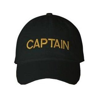CAPTAIN   Black Baseball Cap / Hat One Size Fits Most
