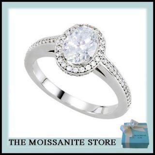 90ct Moissanite Oval Round Diamond Bridal Engagement Ring