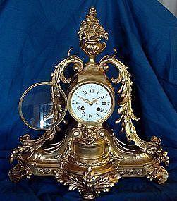 Antique French Clock 19th Century Gilt Bronze Mantel