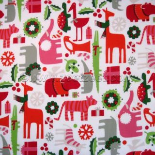 Alexander Henry 2 D Yuletide Zoo Holiday Natural Mod Animals Fabric by