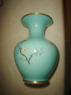 Hertel Jacob Porzellan Barvaria Germany Vase Aqua w Flowers Gold Trim