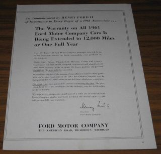 1960 Vintage Ad Ford Motor Co Announcement Henry Ford II