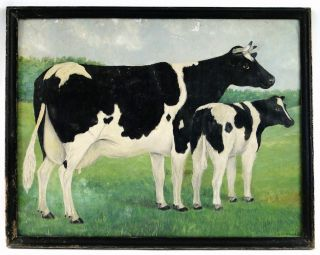 Antique C 1900 Folk Art Prized Holstein Cow Calf Painting