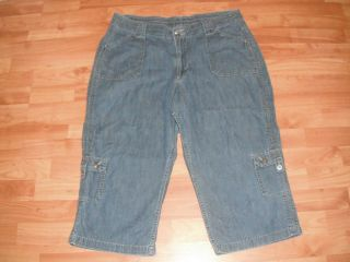 Medium Blue Comfort Denim Cargo Capri by Riders Size 16 M
