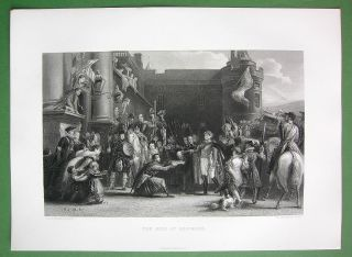 SCOTLAND King George IV Visits Holyrood   SUPERB Antique Print